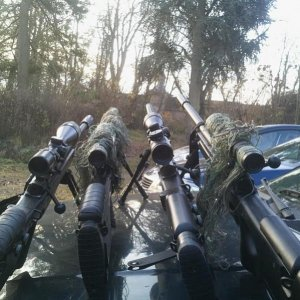 Our team's sniper rifles. Left one is mine. (Though we all have changed setups since, adding dragunov's and M82's)
