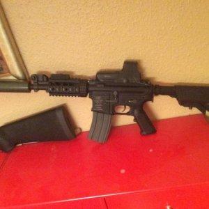 M4 shorty  Wolverine smp, madbull barrel Black Python v2 tightbore, guarder chamber, g'n'g green bucking, fake suppresser,  eotech 552 single moa...