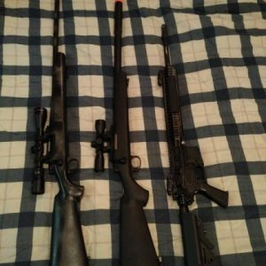 These are my projects the left is a KJW M700 gas sniper, Middle is a JG Bar-10 g spec, and the right is my base DMR platform it's a Classic Army Full...