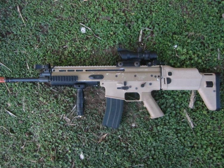 Classic Army Scar L with clone ACOG and fore grip.